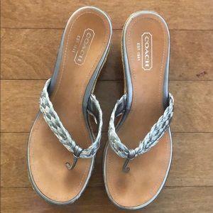 Coach silver wedge sandals 9B